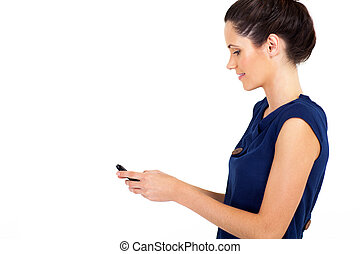 businesswoman reading email on phone