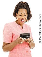 Businesswoman Reads Text Message