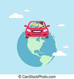 businesswoman, reizen, auto., ongeveer, wereld
