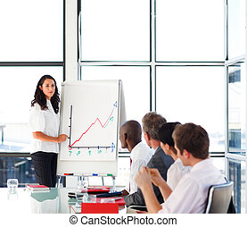 Businesswoman reporting sales figures to her team -...