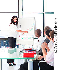 Businesswoman reporting sales figures to her team - ...