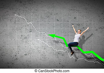 Businesswoman ride graph