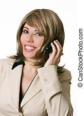 businesswoman, roepen, pa???e?, telefoon