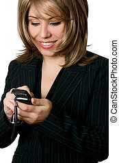businesswoman, roepen, vervaardiging