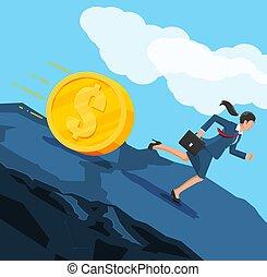 Businesswoman running away from big debt coin