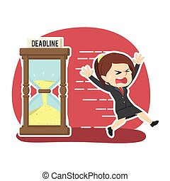 Businesswoman running away from deadline