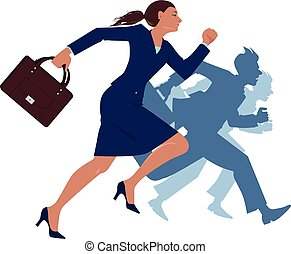 Woman running against her male co-workers, vector illustration