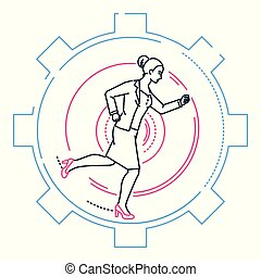 Businesswoman running in a gear - line design style illustration