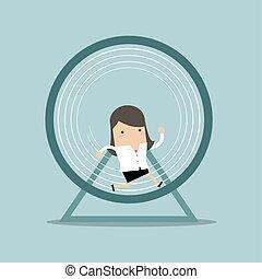 Businesswoman running in a hamster wheel.