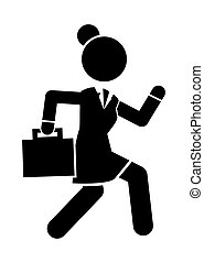 Businesswoman running in a hurry holding briefcase, business woman rushing late black silhouette