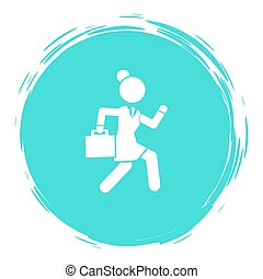 Businesswoman running in a hurry holding briefcase, business woman rushing late white silhouette