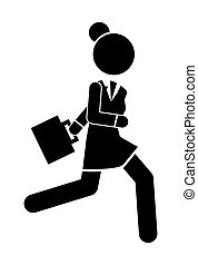 Businesswoman running in a hurry holding briefcase vector illustration, deadline a lot of work to do