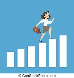 Businesswoman running on chart.