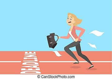 Businesswoman running to deadline.