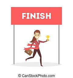 Businesswoman running to finish.