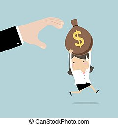 Businesswoman runs away boss hands to steal money bags.
