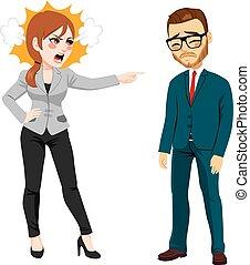 businesswoman, schietende , zakenman