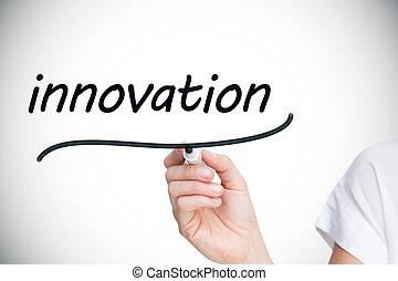 businesswoman, schrijvende , de, woord, innovatie