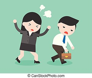 Businesswoman scolding a boring businessman, conflict management concept