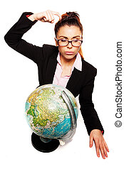 Businesswoman scratching her head while thinking