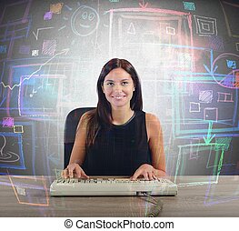 Businesswoman screen