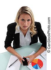 Businesswoman sending text message