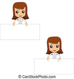 businesswoman, set, spotprent, gekke