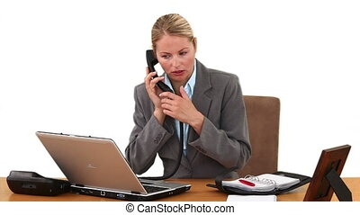 Businesswoman setting a date for a meeting