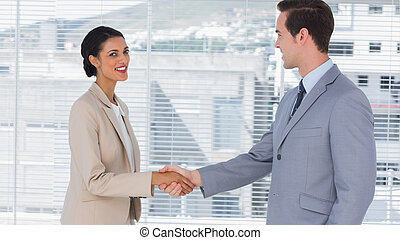 Businesswoman shaking hands to businessman