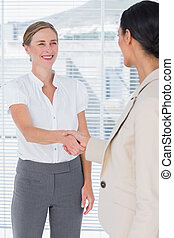 Businesswoman shaking hands with a colleague