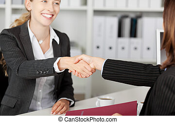 Businesswoman Shaking Hands With Candidate