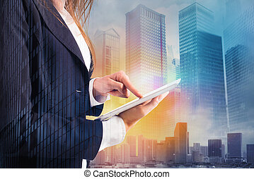 Businesswoman shares document with tablet. Internet concept