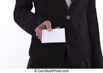 Businesswoman showing a blank business card to you