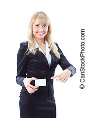 Businesswoman showing