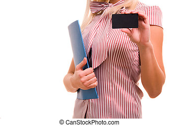 Businesswoman showing and handing a blank business card.