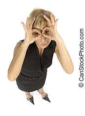 businesswoman showing binoculars