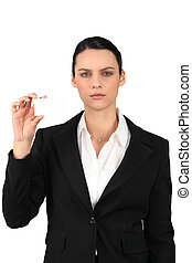 Businesswoman showing business card for message