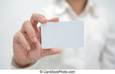 Businesswoman showing business card.