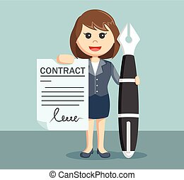 Businesswoman showing contract