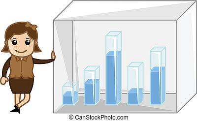 Businesswoman Showing Graph Bar