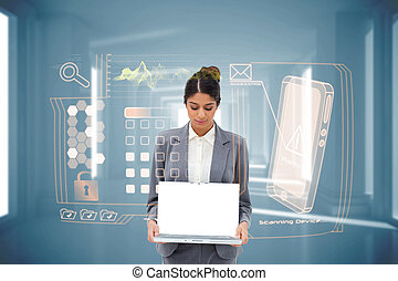 Businesswoman showing laptop with interface