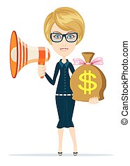 businesswoman showing megaphone and bag of money