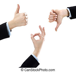 thumbs up and down - businesswoman showing ok sign, thumbs...