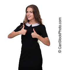 Businesswoman showing thumbs up hand sign. Successful and beautiful caucasian business woman isolated on white.