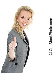 businesswoman showing thumbs up