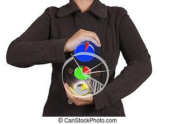 businesswoman  shows virtual pie chart
