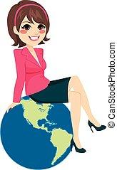 Success concept illustration with beautiful businesswoman sitting on world globe