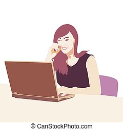 Businesswoman sitting in office at desk and typing on laptop. Vector illustration, flat design