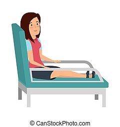 businesswoman sitting in psychiatrist chair vector...