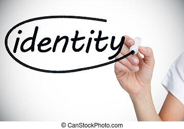 businesswoman, skrift, den, glose, identitet